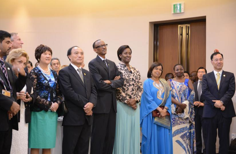 President Kagame and First Lady Jeannette Kagame with ITU Secretary General Elect Houlin Zhao, Mrs Zhao and Mrs. Toure during Dr. Toure's speech at the Gem-Tech Award ceremony at the ITU Plenipotentiary meeting in Busan, South Korea. (Village Urugwiro)