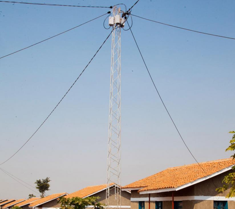 A powerline connecting rural households in Kayonza District. (File)