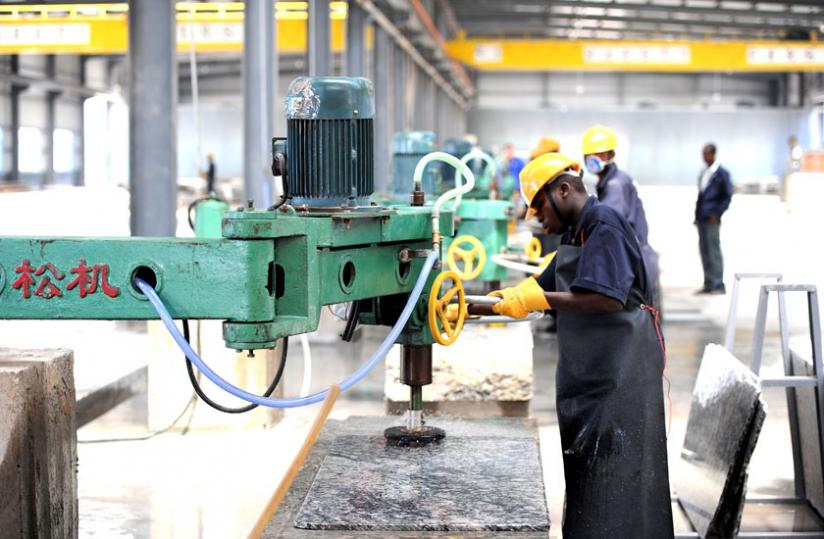 A worker at the granite factory in Nyagatare District. (File)