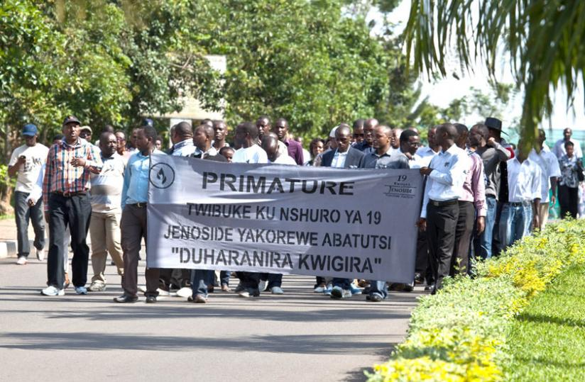 Staff of the Office of the Prime Minister in a march to remember victims of the Genocide. (File photo)