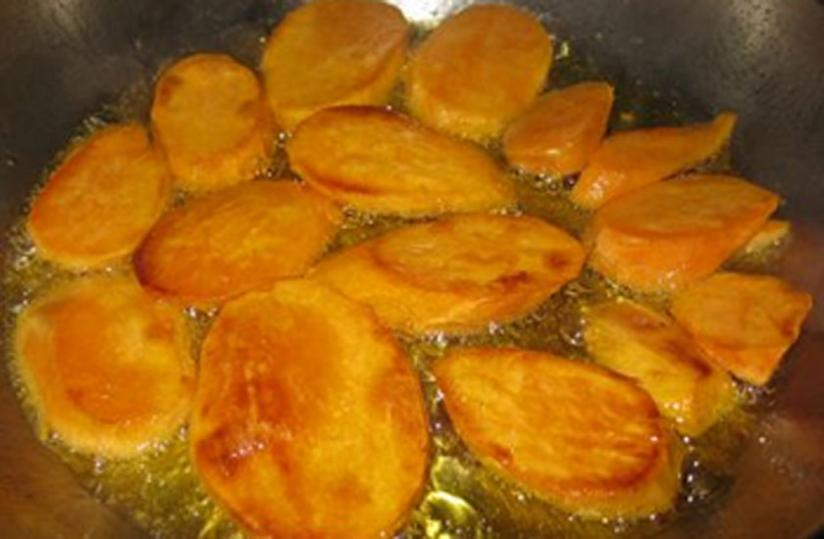 The fried yams can be served for breakfast with a tomato stew. (Photo by Patrick Buchana)