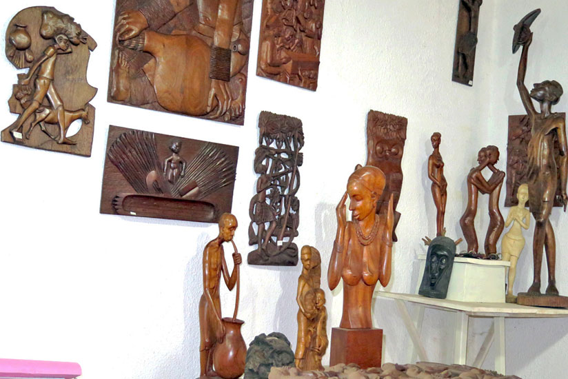 Some of his artworks on display inside the office of Sebukangaga (JP Bucyensenge)