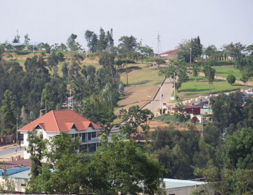 An earial view of Nyamagabe urban centre. Authorities are investing in infrastructure  development to help spur growth and generate more revenues. (Jean Pierre Bucyensenge)
