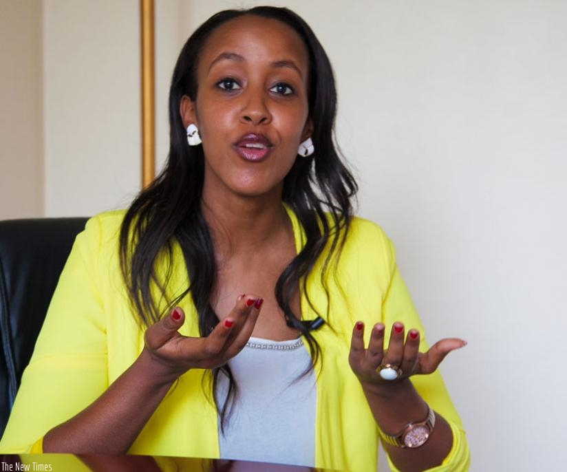 The trainer of the Miss Rwanda 2015 finalists, Sabrina Simbi during the interview.