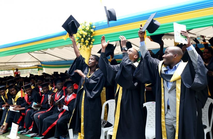Graduates at the fourth graduation ceremony of the Integrated Polytechnic Regional Centre in Kigali toss mortarboards after their names were read out during the ceremony yesterday. (John Mbanda)