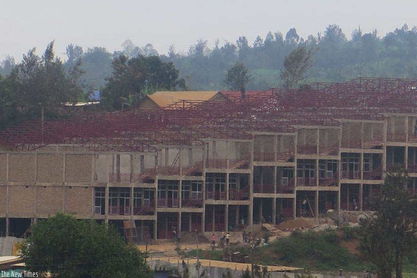 A commercial building under construction at Mulindi trading centre,  (Nuwagira Stephen)