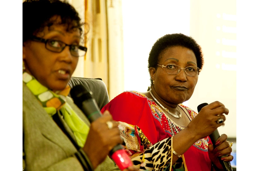 Cabinet Affairs minister Stella Ford Mugabo (L), together with Dr Scholastica Sylvan Kimaryo, of the United Nations, address members of the Rwanda Women Leaders Network (RWLN) in Kigali yesterday.