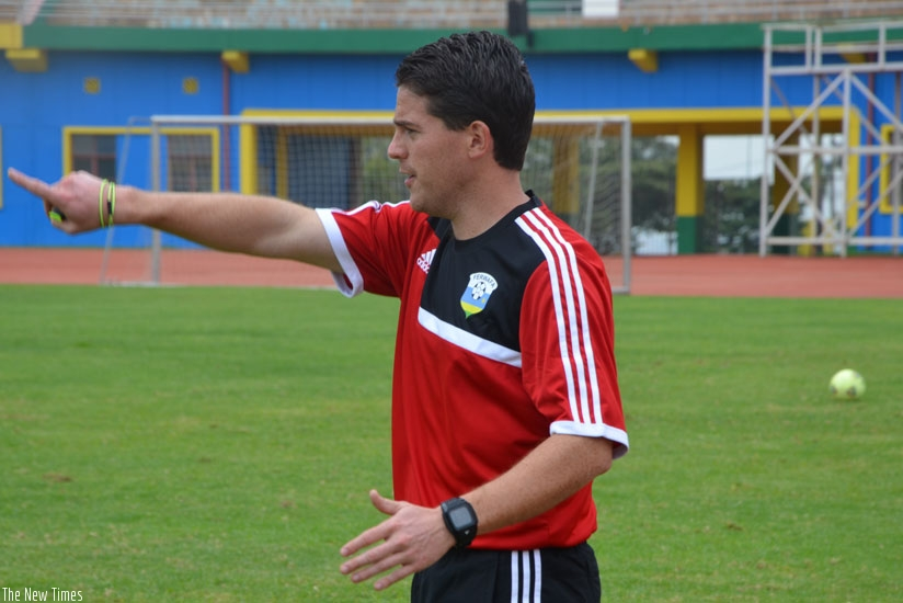 Johnny McKinstry, seen here giving instructions to his players during a training session on Tuesday at Amahoro National Stadium.