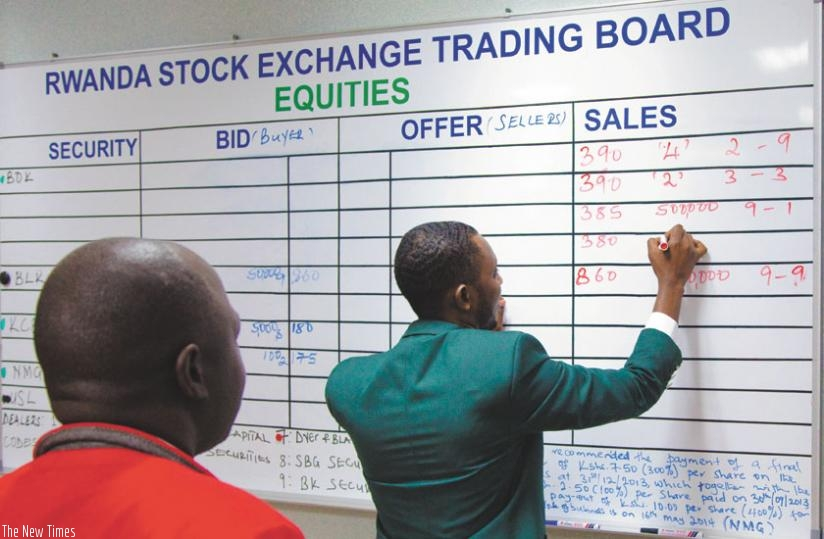 David Mitali, a trading manager at RSE, records deals at a recent session. The bourse performed minimally in Q1 compared to the same period last year.