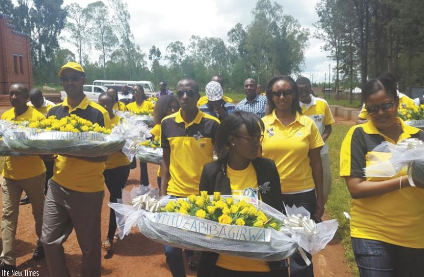 MTN employees honour victims of the 1994 Genocide against the Tutsi at Nyarubuye Genocide Memorial Site in Kirehe on Friday.  (Courtesy)