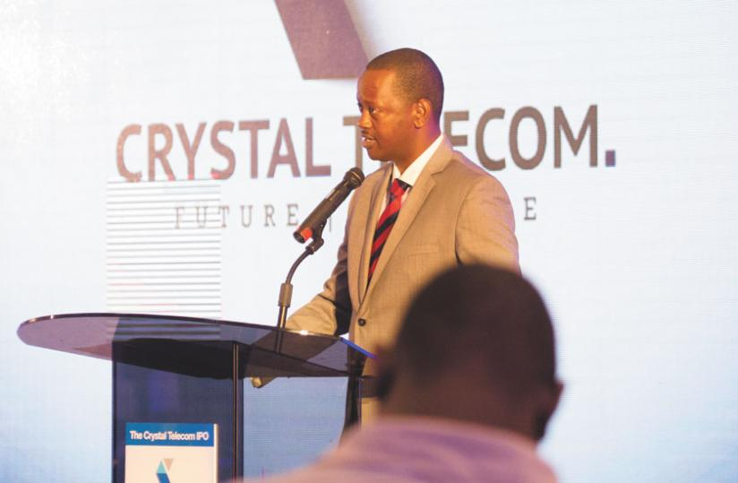 Jack Kayonga, the chairman of Crystal Ventures, speaks during the Initial Public Offering launch at the Kigali Serena Hotel last week. (Timothy Kisambira)