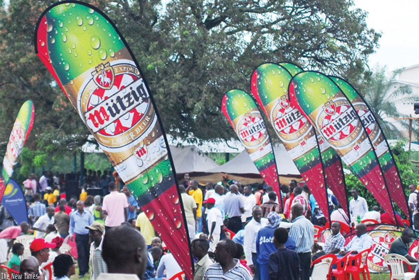 Bralirwa sells one of its beer brands at a trade fair. The brewer sold more beer last year.