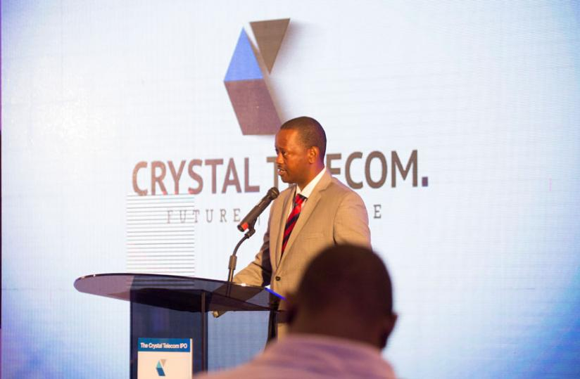 Jack Kayonga, the Crystal Ventures chief, speaks at the launch of the firm's IPO last month. (File)