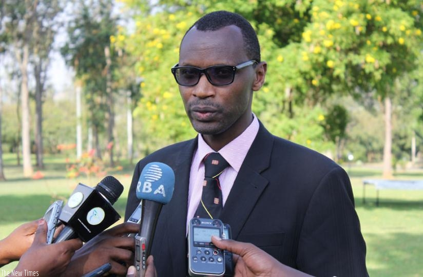 Musafiri speaks to  journalists after officially opening the eighth edition of the civic education  training at Gabiro. (F. Byumvuhore)