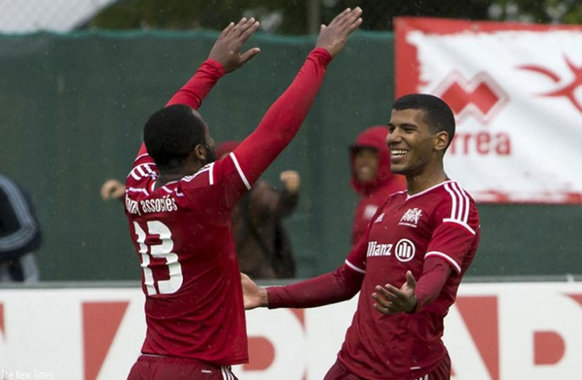 Quentin Rushenguziminega (R) celebrates with a teammate after scoring for FC Echallens of Switzerland. (Net photo)