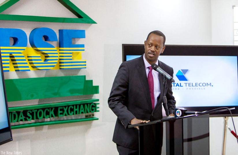 Kayonga speaks during  the sale of Crystal Telecom shares on RSE yesterday. (T. Kisambira)