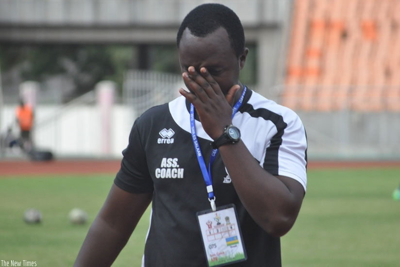 APR assistant coach Vincent Mashami looks distraught after yesterday's heavy defeat to Al Khartoum at the ongoing CECAFA Kagame Cup. (Courtesy)