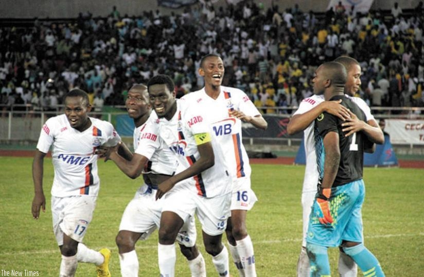 Mugiraneza (4th left) celebrates with his teammates after their quarter-final win over Yanga. (Net photo)