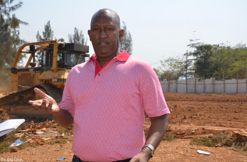 The Managing Director of Expert Company Ltd Protais Segatabazi at the site of the four-star hotel in Remera. (Sam Ngendahimana)