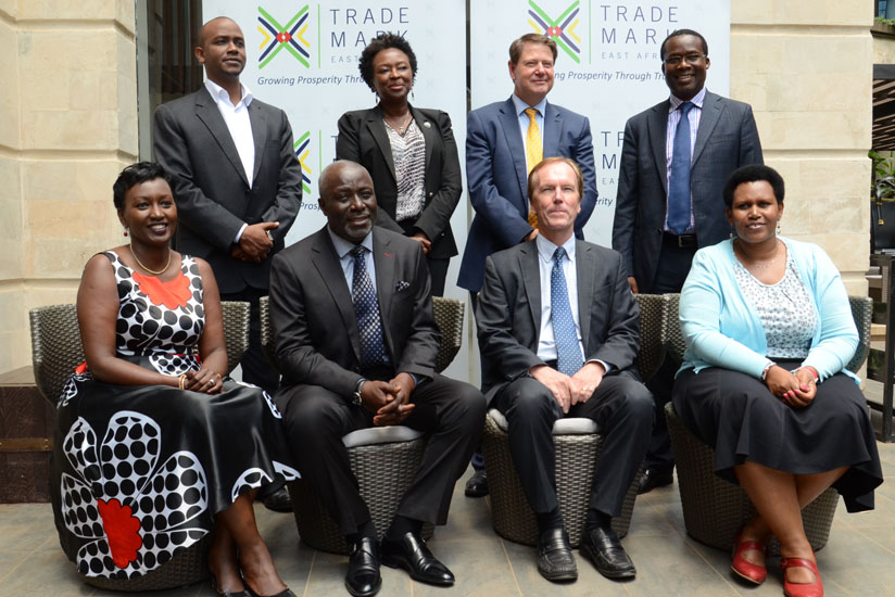 Some of the members of TMEA's new board of directors pose for a picture after their unveiling in Nairobi yesterday. (Courtesy)