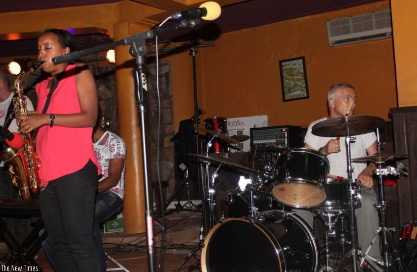 Makumbi Sound during the show at White Horse Restaurant on Saturday.