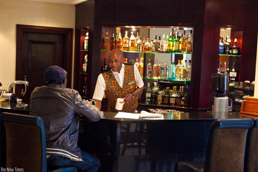 A waiter attends to a customer at the Kigali Serena Hotel. The world will mark customer service next week (File)