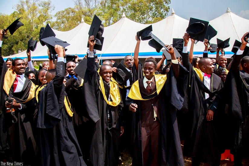 University of Rwanda students celebrate at a recent graduation ceremony. (Timothy Kisambira)
