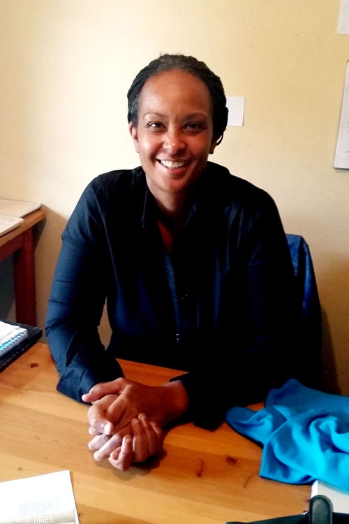 Patrice Dorrall at her office in Kacyiru during the   interview. (S.Kantengwa)