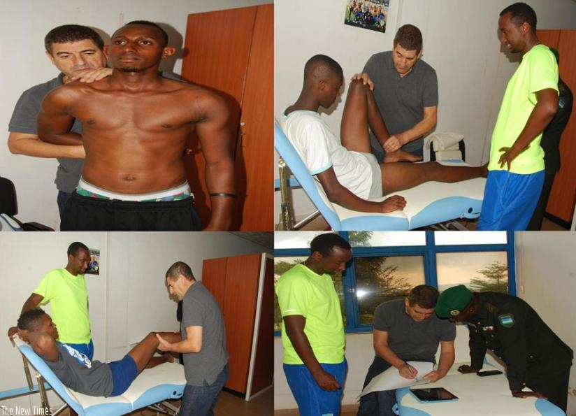 Dr. Hefti examines the injured players, while bottom-right, he talks to Rutamu and Lt. Twagirayezu on Tuesday. (Courtesy)