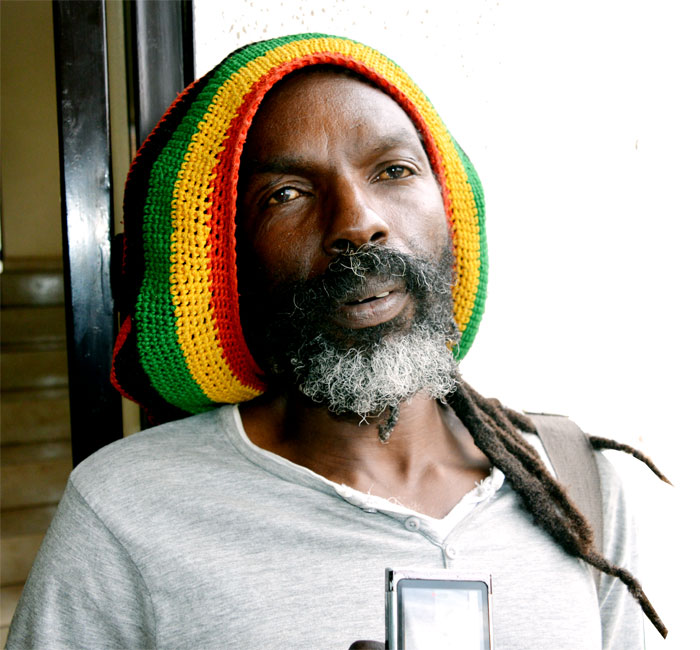 Reggae artiste Jah Bon D during the interview at The New Times' premises on Wednesday. (S. Kalimba)