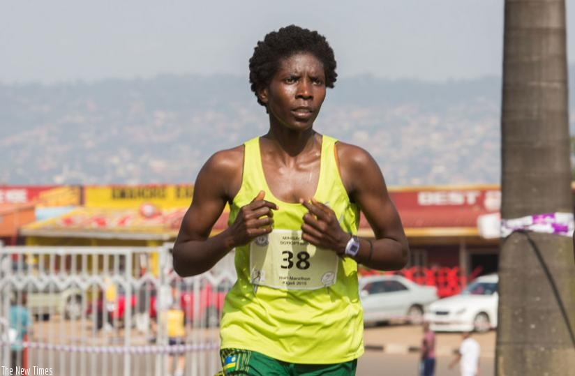 Mukasakindi is one of the elite athletes who will use the HeForShe race to qualify for the 2016 IAAF World Half Marathon Championships. (T. Kisambira)