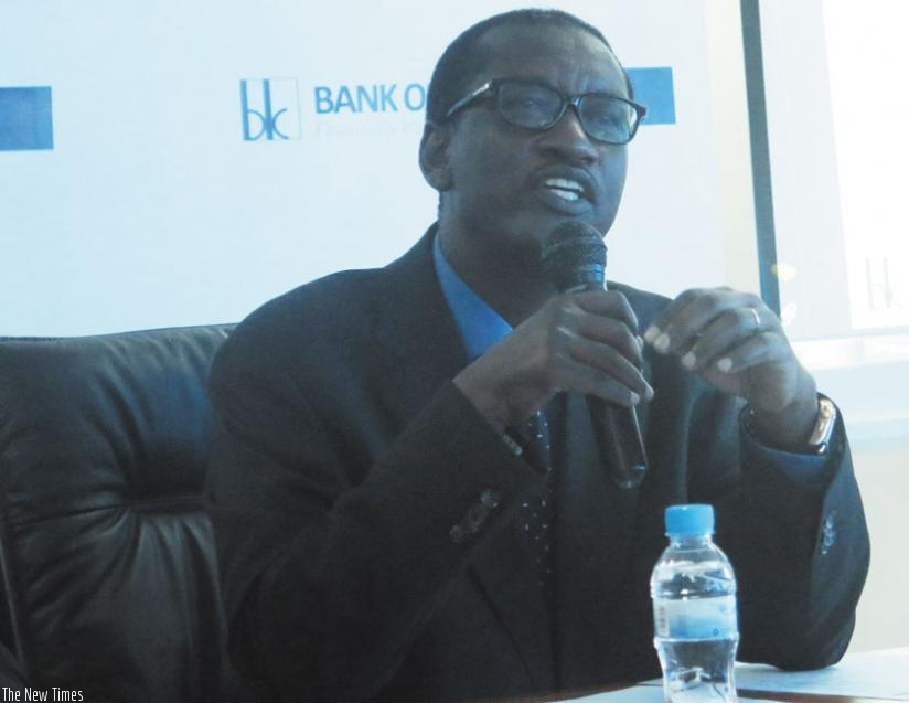 Gatera speaks during the release of the bank's financial results on Thursday. (Solomon Asaba)