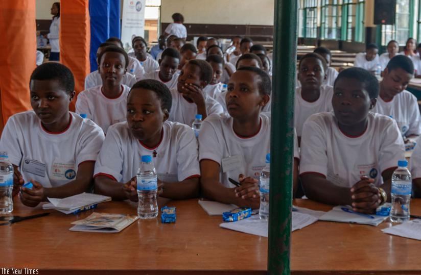 Students follow proceedings during a conference at FAWE Girls school in Kigali. (File)