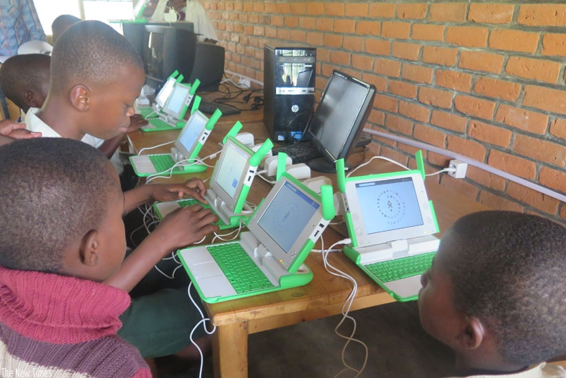 Pupils use laptops to study. Plans were made to revamp the One Laptop per Child Programme. (All photos by Solomon Asaba)