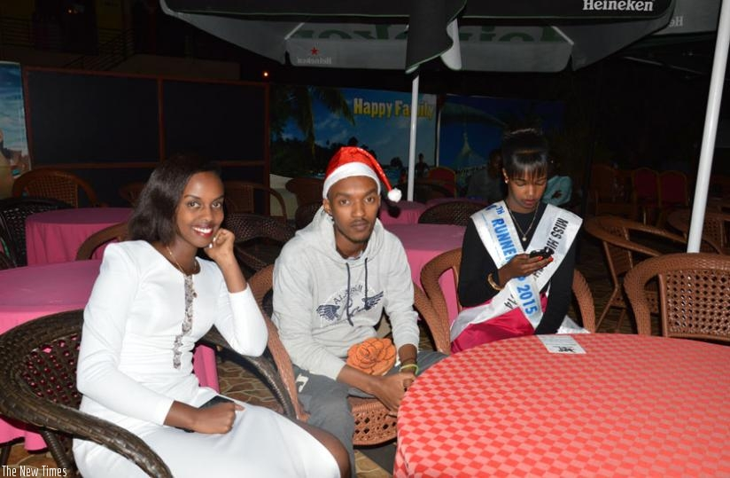 (L-R) Natasha Irebe with an unidentified friend and Miss High School 2014, Barbine Umutoni. (Courtesy)
