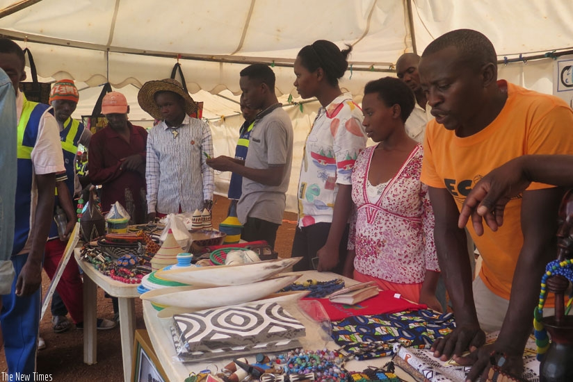 Youth exhibit various products during the Youth Month in Kigali. (Frederic Byumvuhore)
