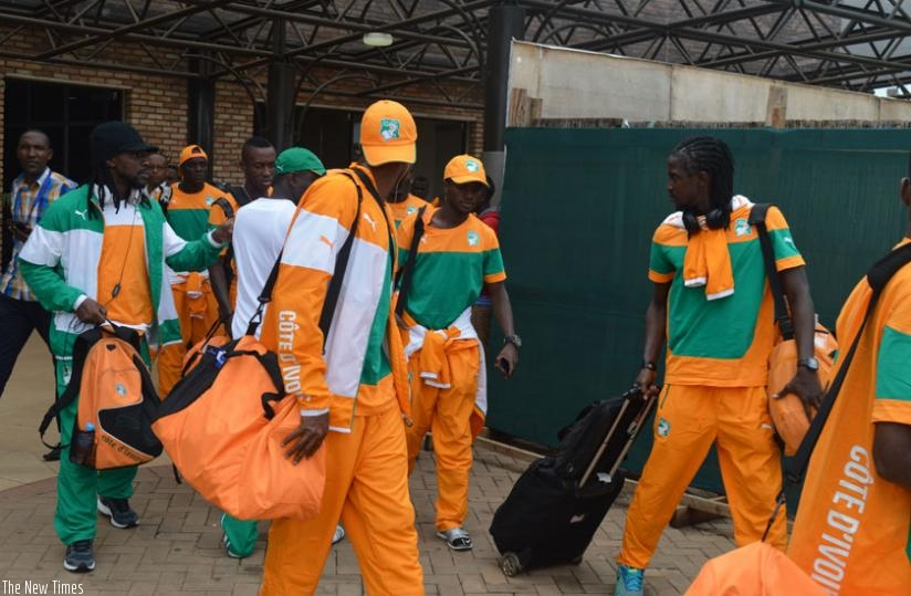 Ivory Coast players on arrival at Kigali International Airport yesterday. Les Elephants are in Group A along with Rwanda, Gabon and Morocco. (D. Sikubwabo)