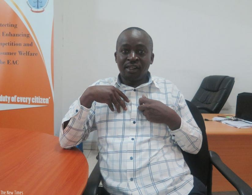 Damien Ndizeye, the chairperson of the Rwanda National Food fortification Alliance during the interview in his office in Kigali. (Solomon Asaba)
