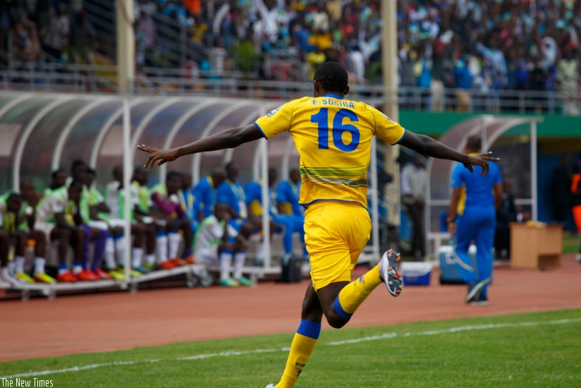 Ernest Sugira celebrates after scoring the first of his two goals against Gabon (Timothy Kisambira)