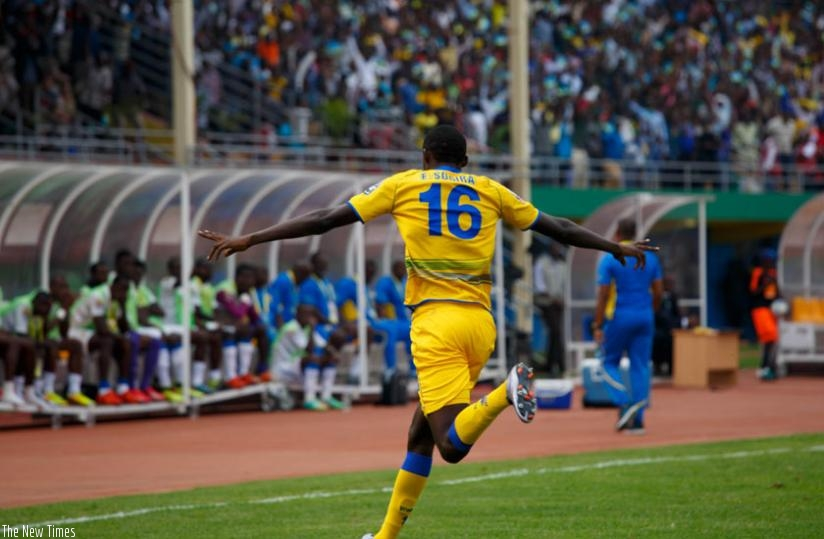 Sugira wheels away to celebrate his goal. (T. Kisambira)