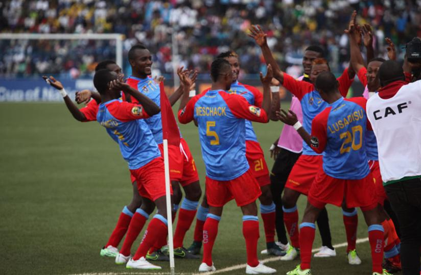 DR Congo players celebrate one of their goals against Ethiopia in the first match on Sunday. (S. Ngendahimana)