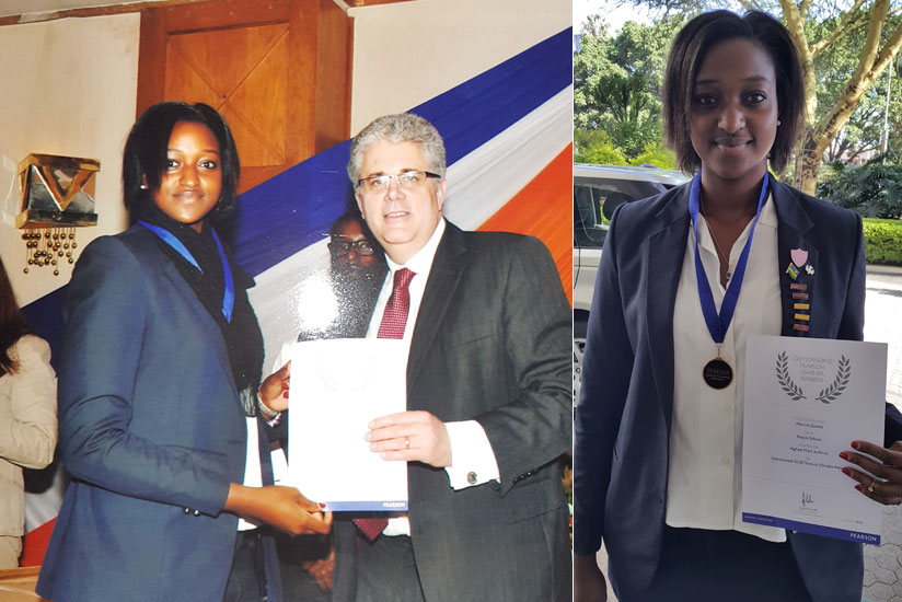 Martina Gasana receives a certificate of recognition for her achievement. RIGHT: Gasana displays her award. (Courtesy)