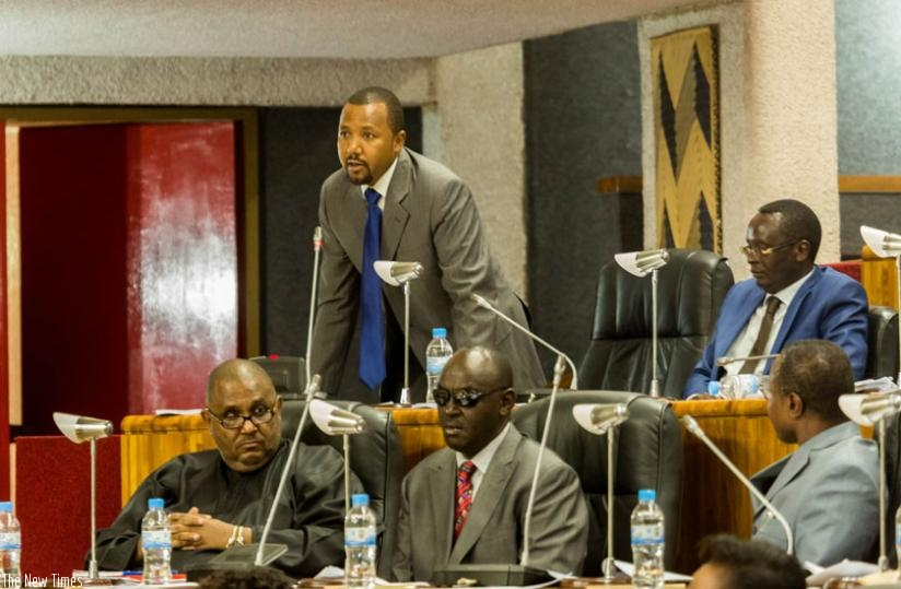MP Abdullah Mwinyi of Tanzania speaks during the EALA session in Arusha, yesterday. (Timothy Kisambira)