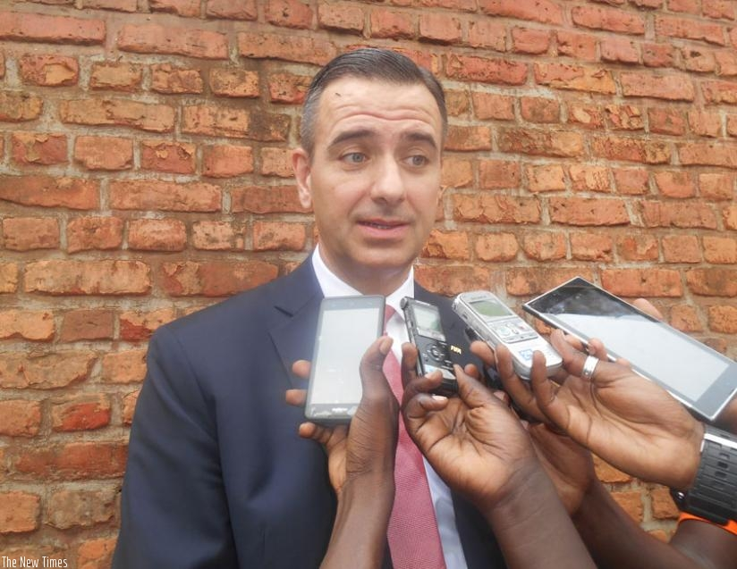 Dr. Kattner speaking to the journalists after touring Nyamata memorial site in Bugesera. (G. Asiimwe)