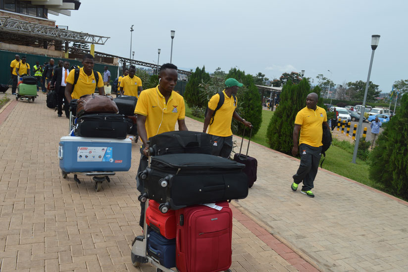 The Gabonese national team arrives for the just-concluded CHAN in Kigali. Rwanda had waived visa fees for all participating countries. (Damas Sikubwabo)