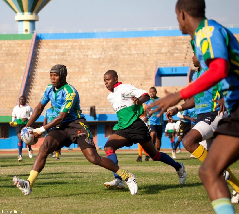 Silverbacks' Marcel Cambara Koko playing against Burundi in 2014 during the Africa Rugby Division 2 cup at Amahoro Stadium. (File)
