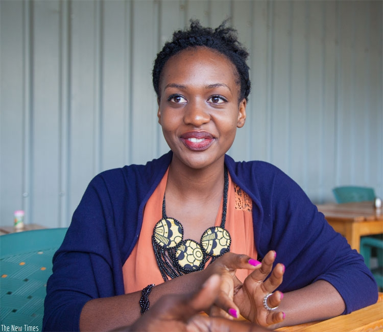 Sandrine Ashimwe in an interview at The New Times premises on Tuesday. (Faustin Niyigena)