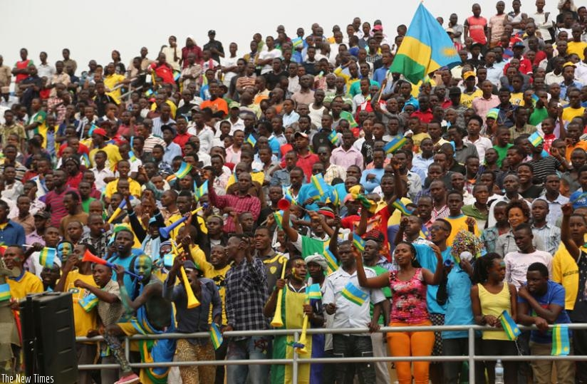 Football fans cheer during the CHAN tournament in Kigali, last month. (File)