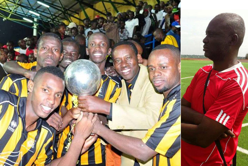 Mukura beat Amagaju FC to win a trophy during the official opening of the refurbished Huye Stadium in January. RIGHT: Mukura head coach Godefroid Okoko. (Courtesy)