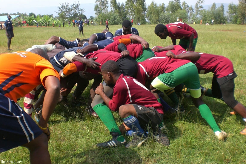 Resilience compete in a scrum in their win against Kamonyi Pumas last weekend. (Courtesy)